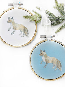 Fox Hoop Ornament - Woodland Holiday Decor - Baby's First Ornament