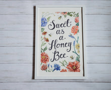 Load image into Gallery viewer, Sweet as a Honey Bee - Illustrated Nursery Art Print