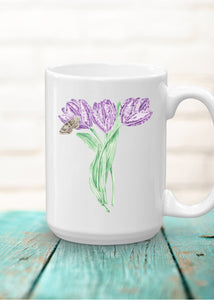Letter T Monogram Mug - Floral Illustrated Mugs - Beautiful Bridesmaid Gift