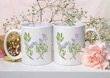 Load image into Gallery viewer, Letter W Monogram Mug - Floral Illustrated Mugs - Beautiful Bridesmaid Gift