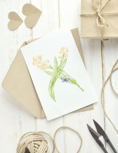 Letter X Initial Folded Note Card