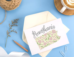Pennsylvania State Map Folded Card