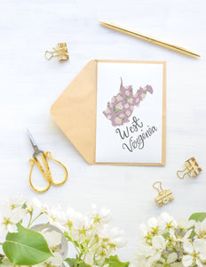 West Virginia State Map Folded Card