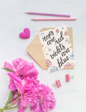 Load image into Gallery viewer, Roses are Red Violets are Blue Folded Card