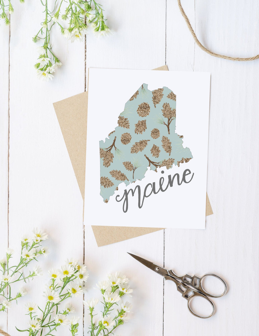Maine State Map Folded Card