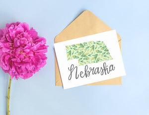 Nebraska State Map Folded Card
