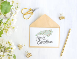 North Carolina State Map Folded Card