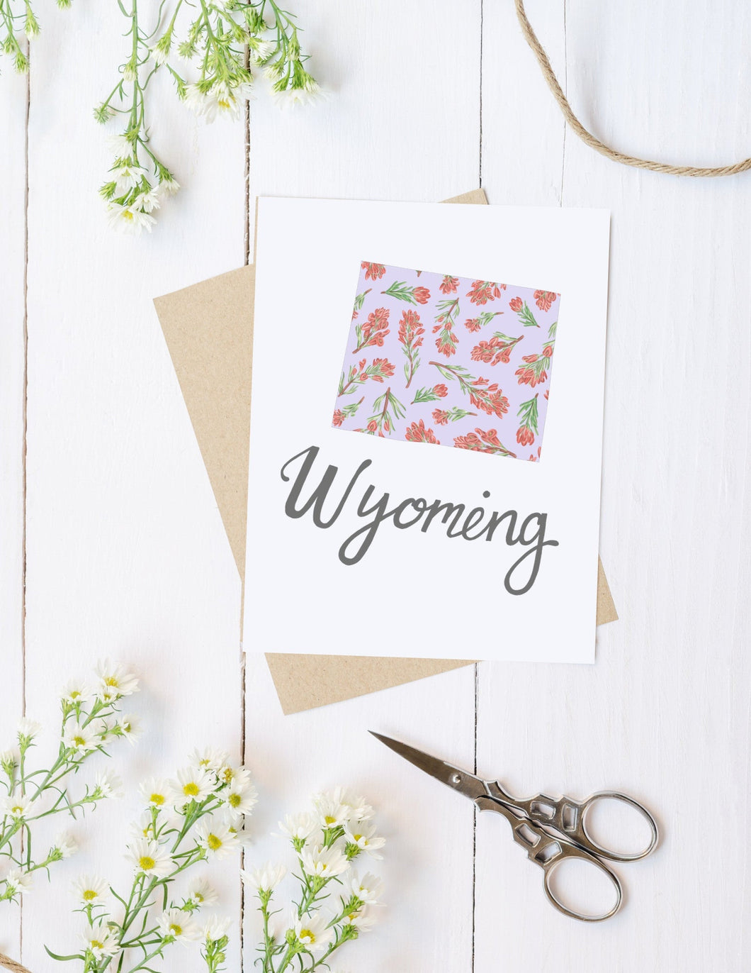 Wyoming State Map Folded Card