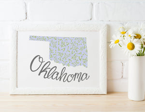 Oklahoma State Map Art Print
