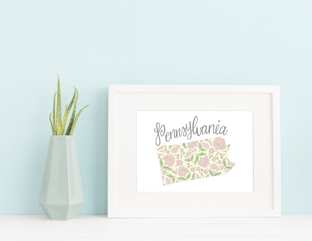 Pennsylvania State Map Art Print
