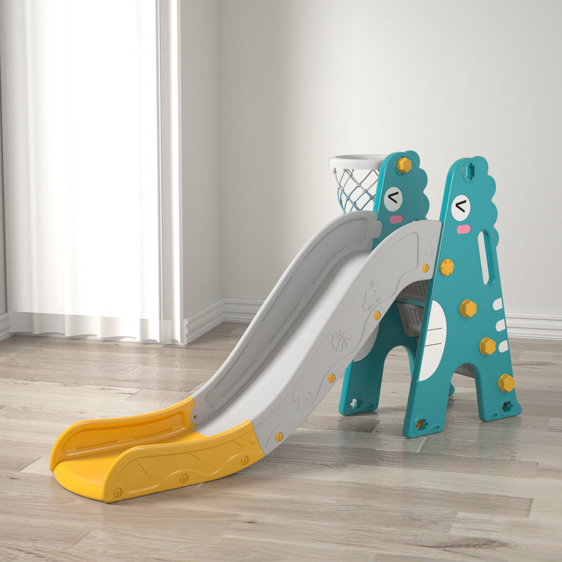 Kids 2 in 1 Slide with Extra Long Slide with Freestanding Climber and Basketball Hoop. Age: 1-8 Years (Grey+Yellow)