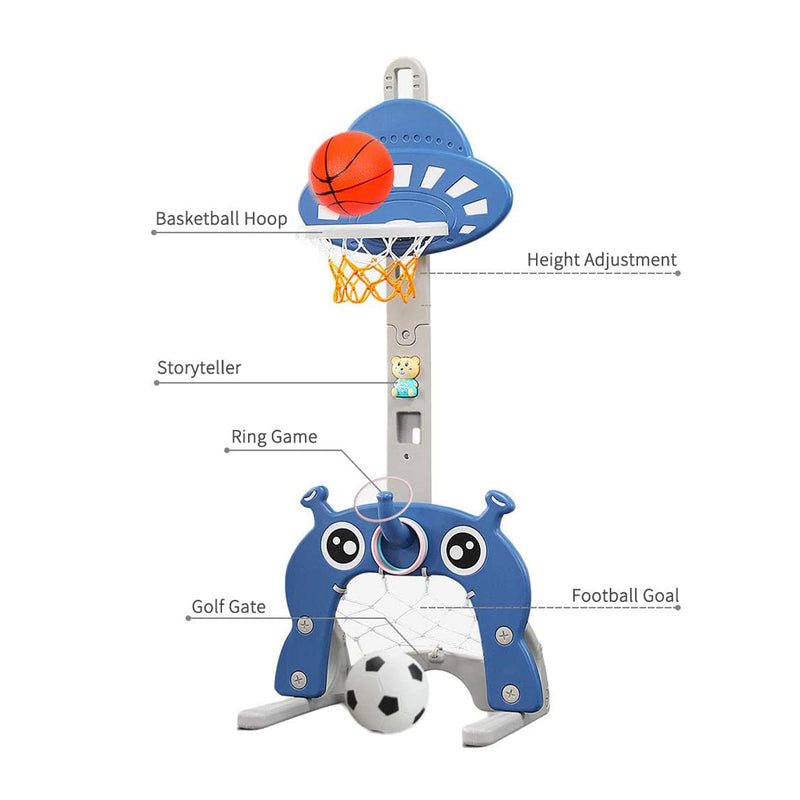 Kids 5 in 1 Multi Sport Activity Stand with Basketball, Football, Golf Club, Ring Toss Including Storyteller and Music Device. Age 1 to 4 (UFO)