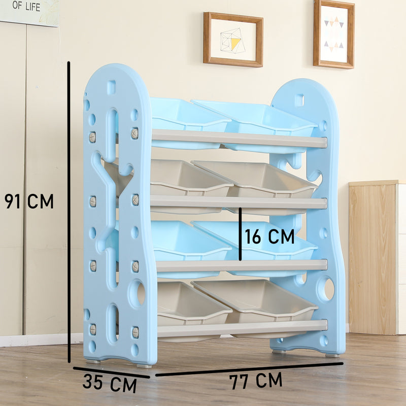 Kids Toys and Books Organiser with 8 Storage Bins, Multi-Layer Shelf Rack. (Blue)