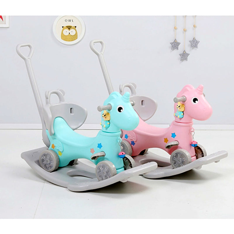 Unicorn 3 in 1 Kids Rocker, Stroller and Ride on Toy with Safety Belts, LED Wheels and Storyteller. Age 1- 5 (Pink)