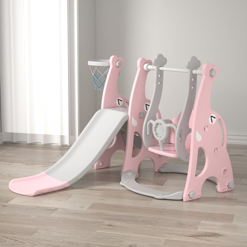 Elephant 3-in-1 Kids Slide and Swing playset with Basketball Hoop. Age 1 to 4 (Pink)