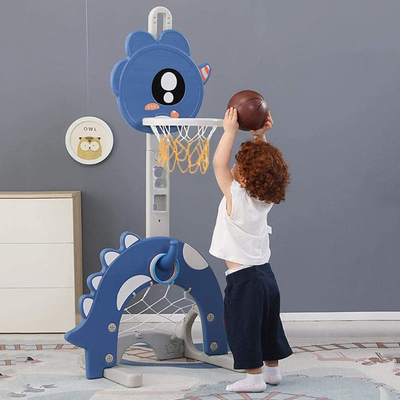 Kids 4 in 1 Multi Sports Activity Stand with Basketball Hoop, Football & Golf Goal, Golf Club and Ring Toss. Age 1 to 6 (Dinosaur)