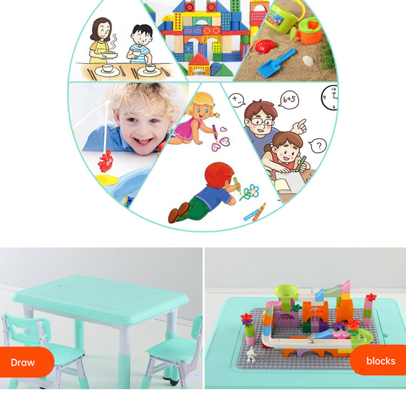 Activity Table Chair Set with 1 Chair, 2 Storage Bin and 1 Table with dual table top Lid for Building Lego blocks. Age 1 to 8 (Blue)