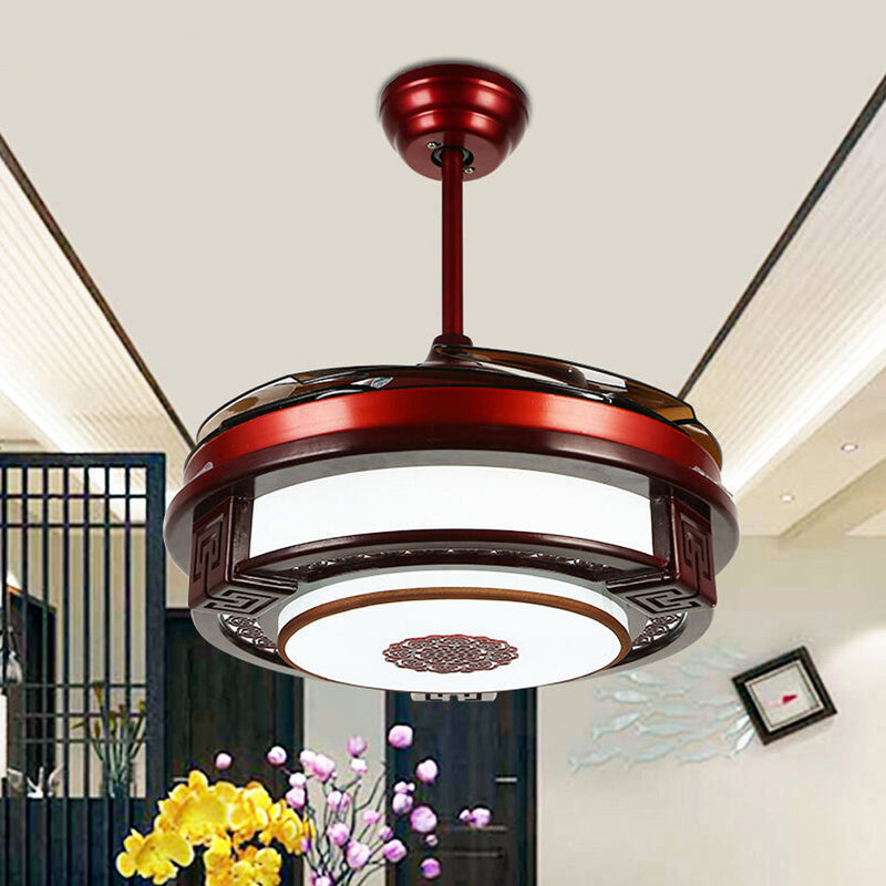 Wooden Frame Chandelier LED Light 42 Inch Ceiling Fan With 4 Acrylic Retractable Blades.