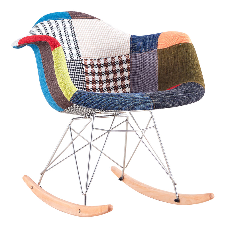Rocking Armrest Patchwork Lounge Chair - Multicolor