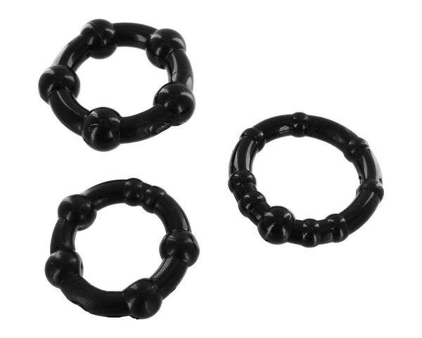 Adult Toys - Set Of 3 Cock Rings Black