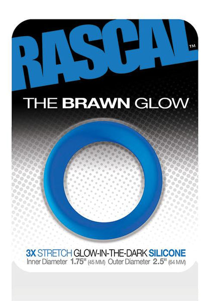 Adult Toys - The Brawn Cockring Glow Blue