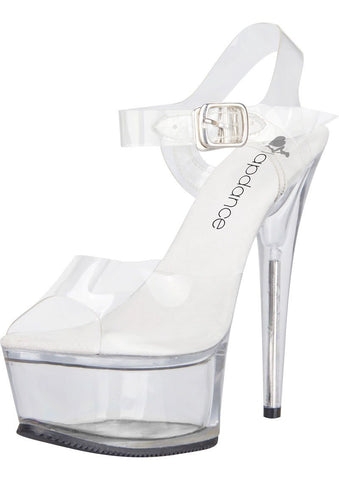 Clear Platform Sandal With Quick Release Strap 6in Heel Size 7