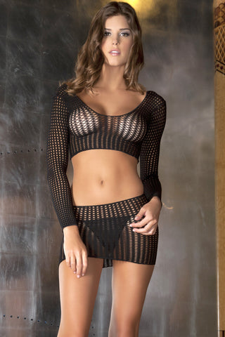 Lingerie - 2 Pc Quarter Crochet Net Bodystocking