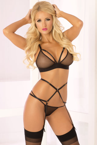 Lingerie - 3 Pc Straps And Mesh Bra Set