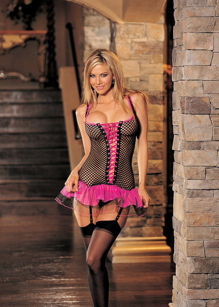 Lingerie - Big-Hole Fishnet & Tulle Bustier W/ G-string & Stockings