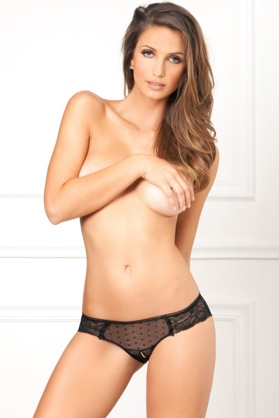 Lingerie - Crotchless Lace And Dots Panty