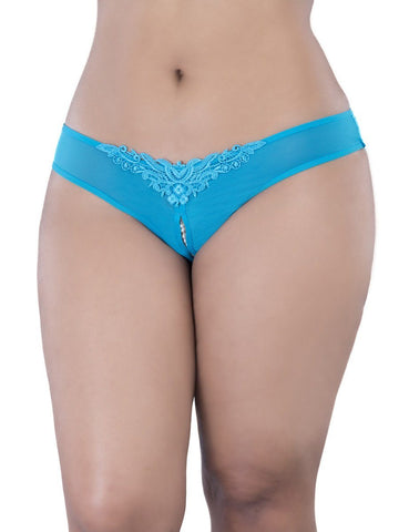 Lingerie - Crotchless Thong With Pearls And Venise Detail