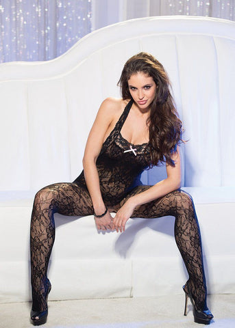Lingerie - Halter Stretch Lace Open Front Bodystocking