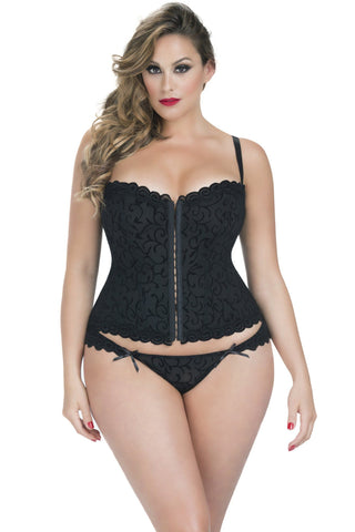 Lingerie - J'Adore Burnout Mesh Corset W/ Lace Up Detail And Tanga