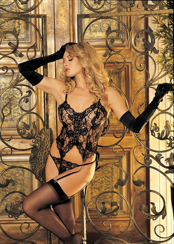 Lingerie - Lovely Lace Bustier W/ Stockings & G-string