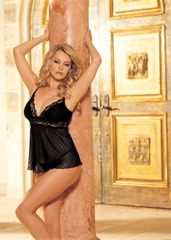Lingerie - Snowflake Patterned Stretch Lace Babydoll