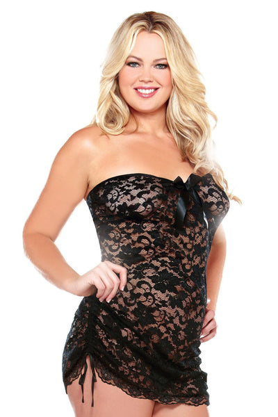 Lingerie - Strapless Lace Dress W/ Adjustable Side Detail & Thong