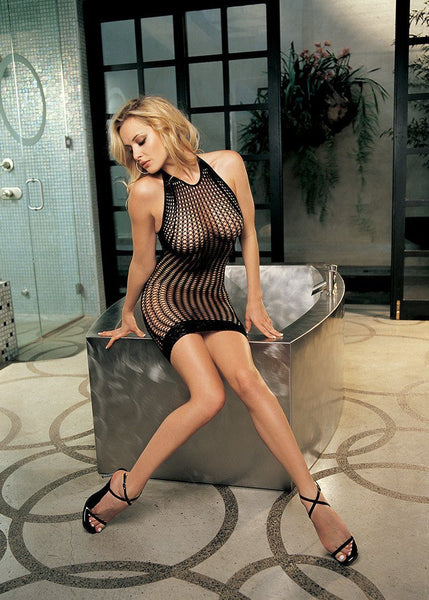 Lingerie - Stretch Honeycomb Fishnet Dress W/ Stretch Lace Hem