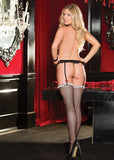 Stretch Lace Garterbelt & Ruffle Topped Fishnet Stocking