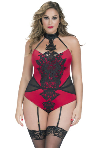 Lingerie - Teddy W/ Venise Applique Detail And Garters