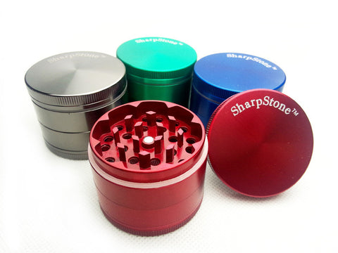 "SharpStone® Hard Top 4 Piece Magnetic Weed Grinder - 2.5"" Green - Aussie Discreet Express Rush, Jungle Juice Platinum, Sweet Puff, Poppers International Shipping"
