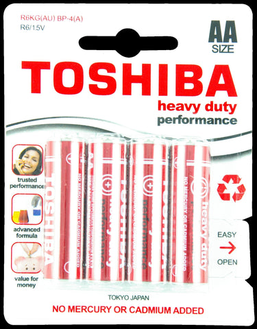 Stationary - Toshiba Heavy Duty AA Carded 4Pk Battery