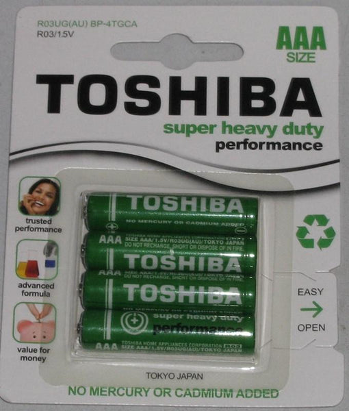Stationary - Toshiba Super Heavy Duty AAA Carded 4Pk Battery