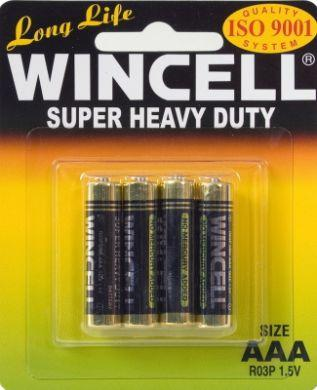Stationary - Wincell Super Heavy Duty AAA Carded 4Pk Battery