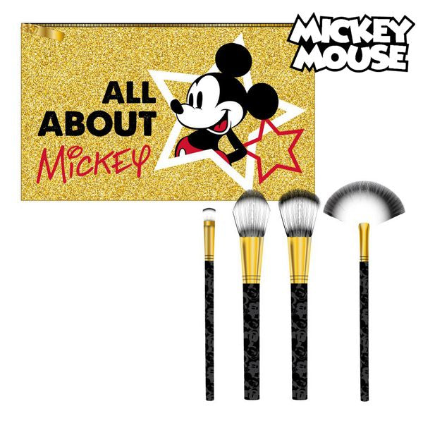 Set of Make-up Brushes Mickey Mouse Golden (5 Pcs)