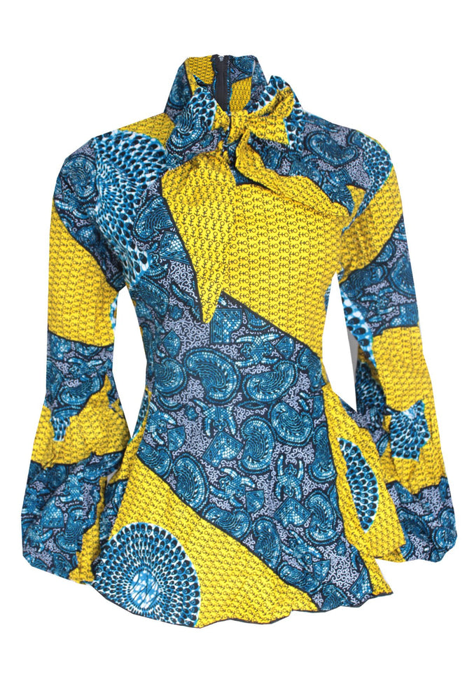 AISHA AFRICAN PRINT TIE NECK TOP (YELLOW)