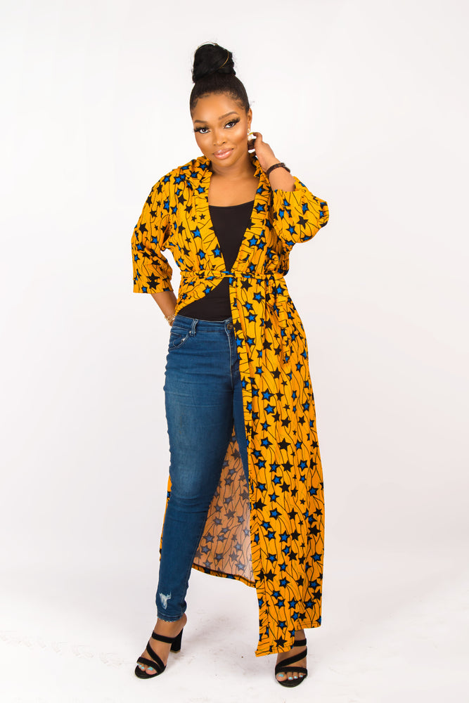 Load image into Gallery viewer, DESTA AFRICAN STAR PRINT HOODED KIMONO JACKET - DESIRE1709