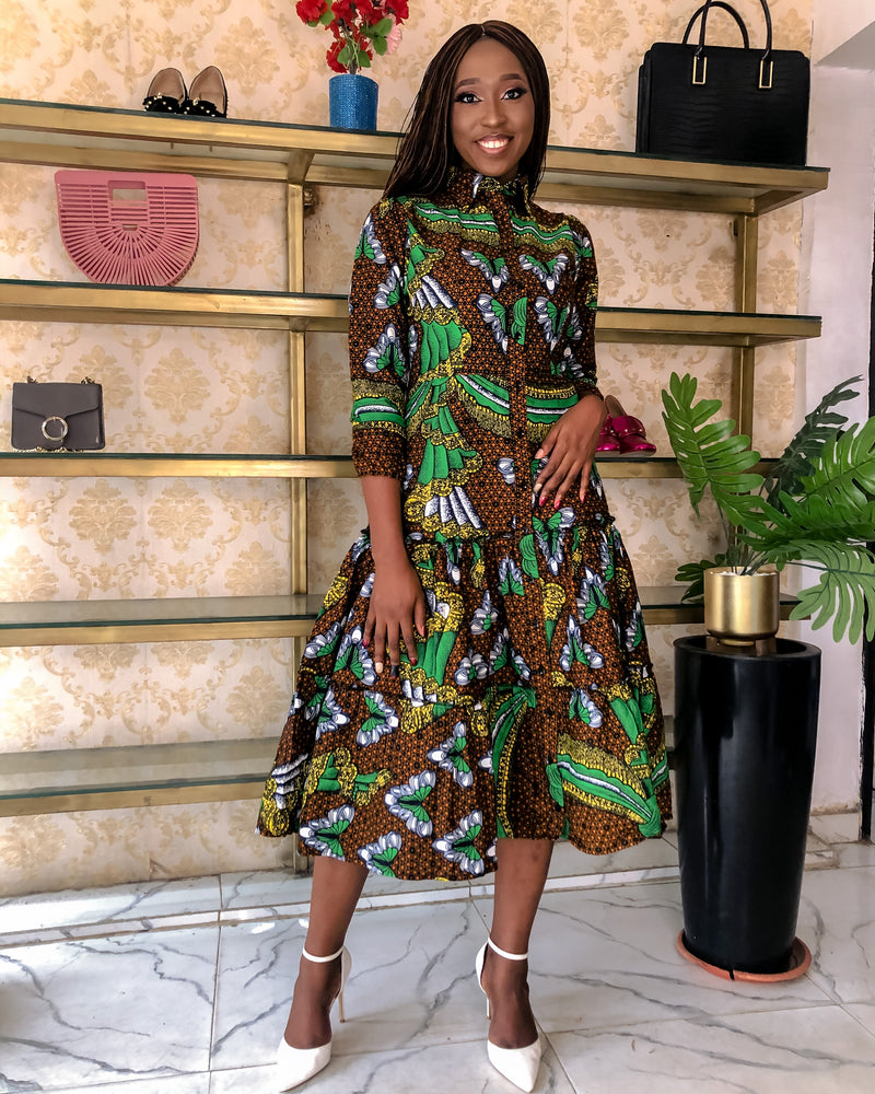ORE TIERED AFRICAN PRINT ANKARA DRESS