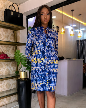 Load image into Gallery viewer, PALESA FRILL DETAIL SHIRT DRESS (BLUE) - DESIRE1709