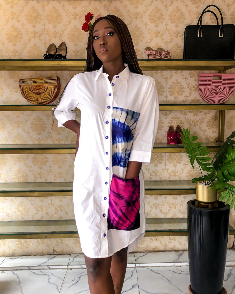 NAYA ADIRE POCKET BOYFRIEND SHIRT DRESS - DESIRE1709