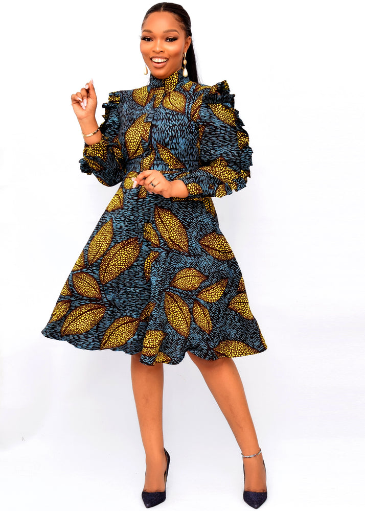 Load image into Gallery viewer, IVIE AFRICAN PRINT SKATER DRESS - DESIRE1709